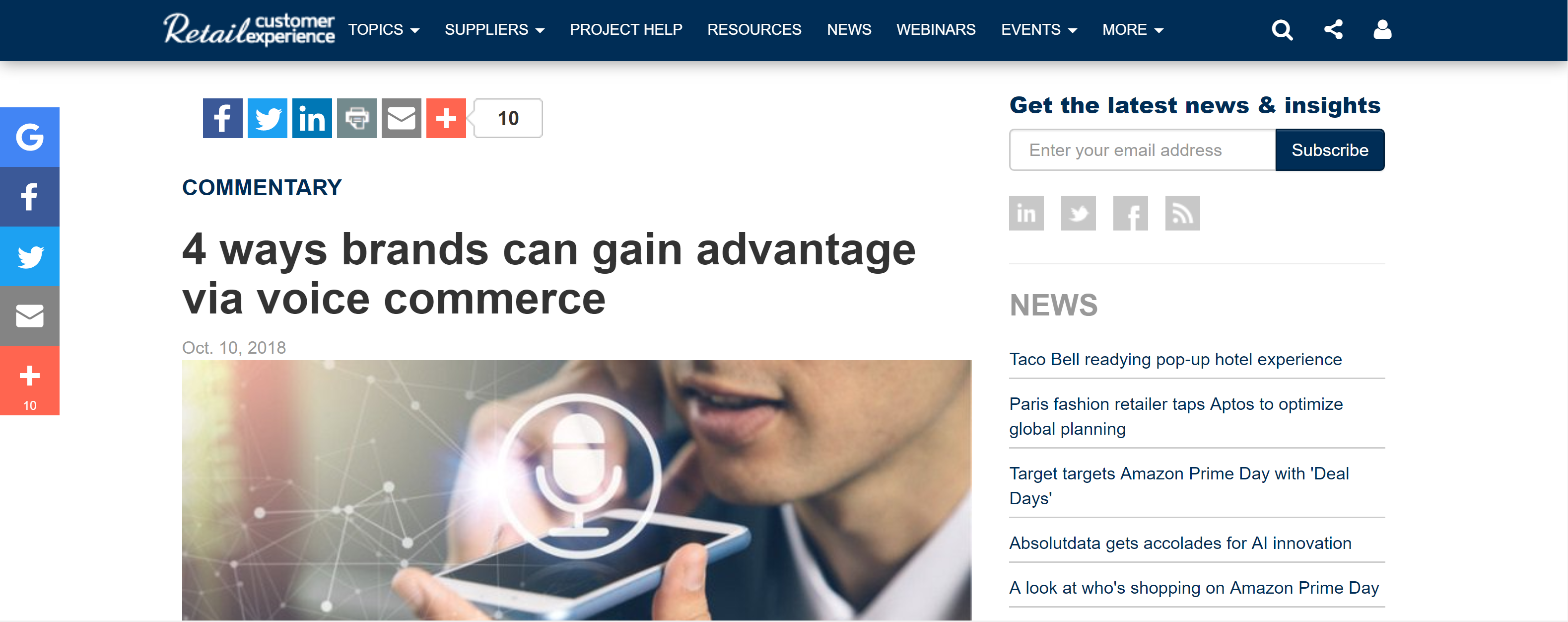 Retail Customer Experience - 4 Ways Brands Can Gain Advantage Via Voice Commerce by Tabatha Patterson