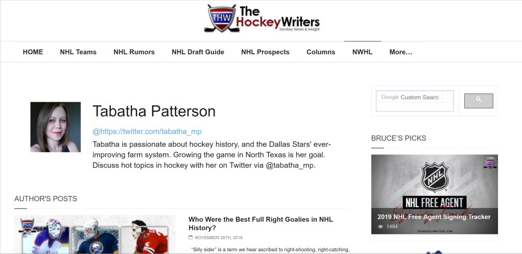 NHL Writing Samples by Tabatha Patterson